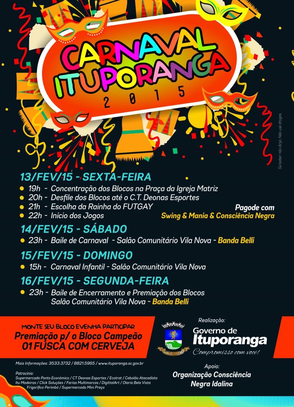 Ituporanga terá Carnaval de Salão