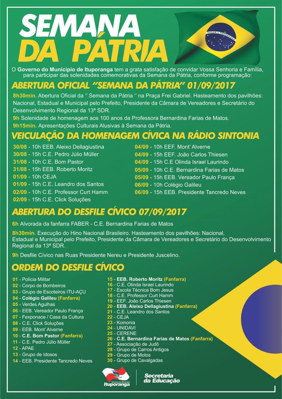 Comemorações do Dia da Independência começam nesta semana em Ituporanga