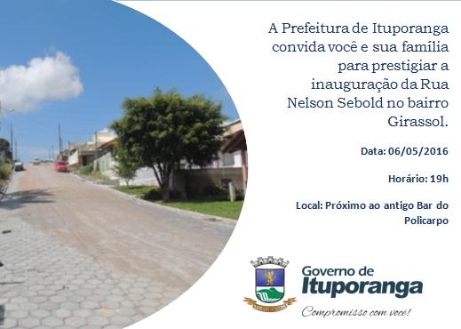 Rua Nelson Sebold será inaugurada nesta sexta-feira em Ituporanga