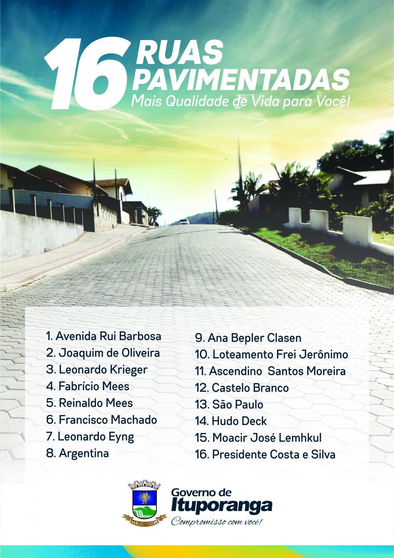 Uma rua pavimentada a cada 50 dias em Ituporanga