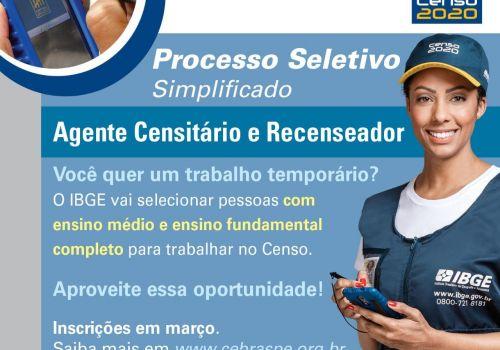 ABERTAS AS INSCRIÇÕES PARA PROCESSO SELETIVO DO IBGE