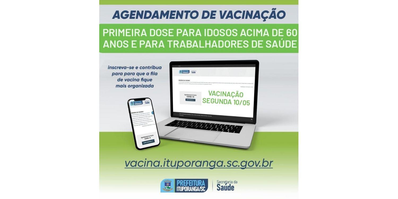 Aberto agendamento para vacinação Covid para idosos com 60 anos e para trabalhadores de saúde