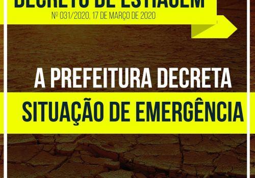 Administração Municipal decreta situação de emergência por estiagem