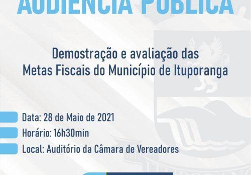 Audiência Pública para apresentação das metas fiscais da Administração de Ituporanga será realizada