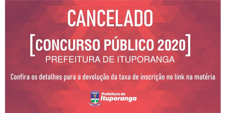 Cancelamento do Concurso 2020 do Município de Ituporanga