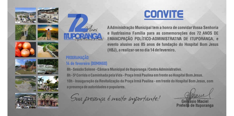 Com programação especial, Ituporanga celebra no domingo 72 anos de emancipação