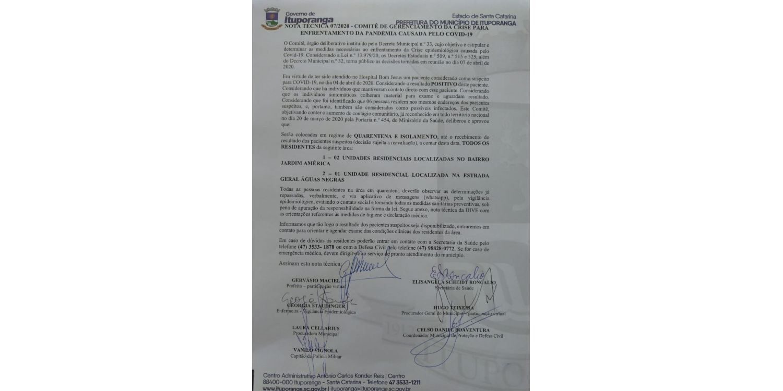 Comitê de gerenciamento de crise e enfrentamento ao Covid-19 emite Nota Técnica