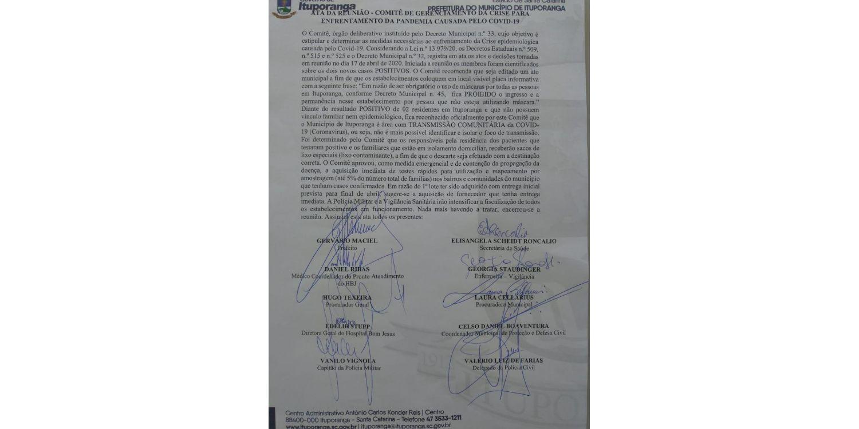 Comitê de gerenciamento de crise  reconhece oficialmente  transmissão comunitária em Ituporanga