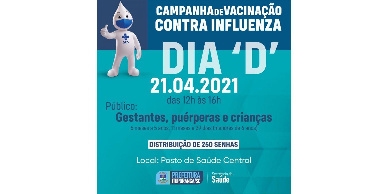 """Dia """"D"""" de vacinação contra a influenza será na quarta-feira de feriado em Ituporanga"""