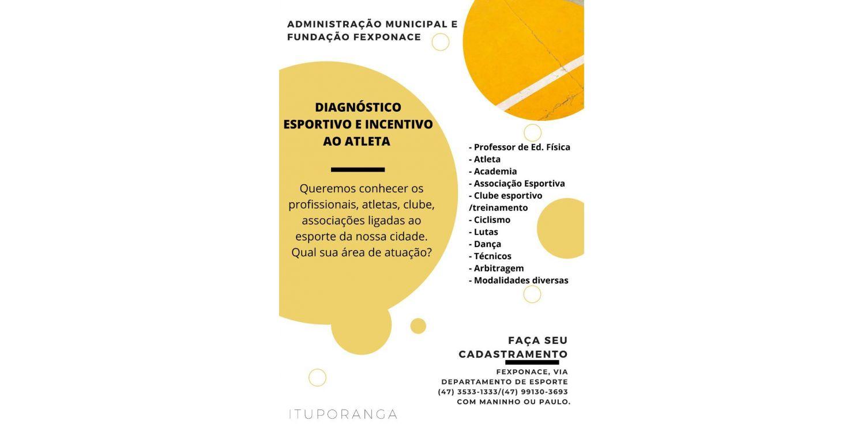 Diagnóstico Esportivo vai catalogar atletas e modalidades esportivas de Ituporanga