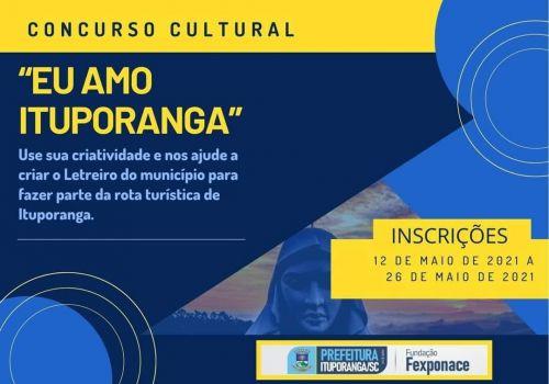 Encerra nesta semana as inscrições para o Concurso Cultural Eu Amo Ituporanga