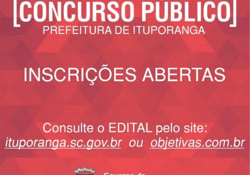 Estão abertas as inscrições para o Concurso Público para Prefeitura de Ituporanga
