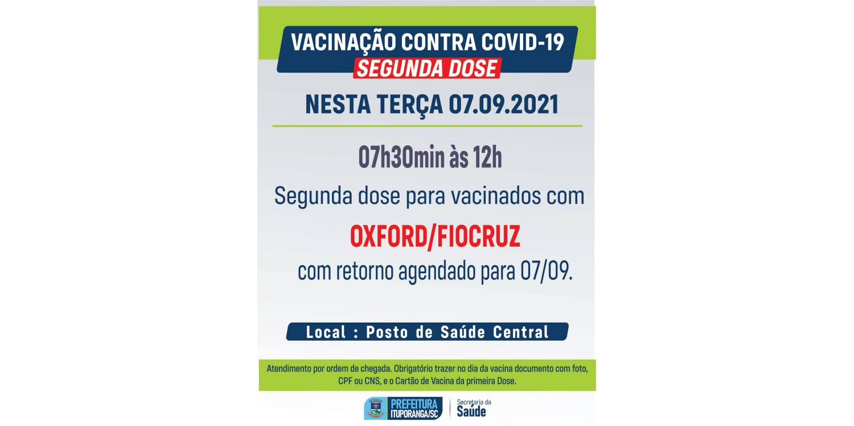 Feriado da Independência terá aplicação da segunda dose da vacina contra Covid-19 em Ituporanga