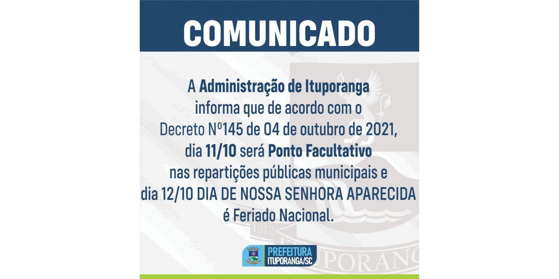 FERIADO DE 12  DE OUTUBRO: Repartições públicas municipais não terão expediente segunda  e terça