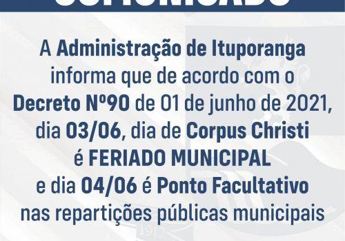 Feriado de Corpus Christi: Repartições públicas municipais não terão expediente quinta e sexta