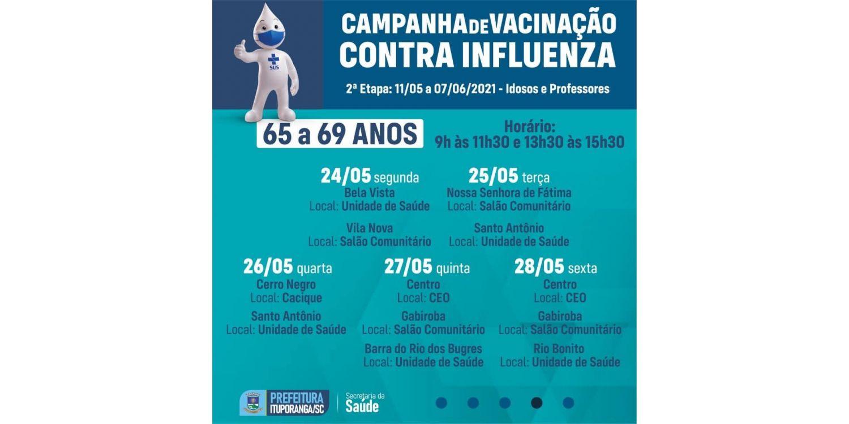 Idosos entre 60 e 65 anos recebem vacina contra a gripe nesta semana em Ituporanga