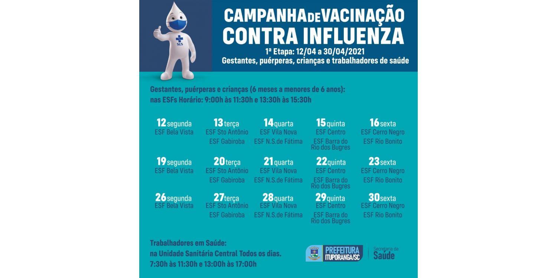 Inicia nesta segunda-feira a campanha de vacinação contra a gripe