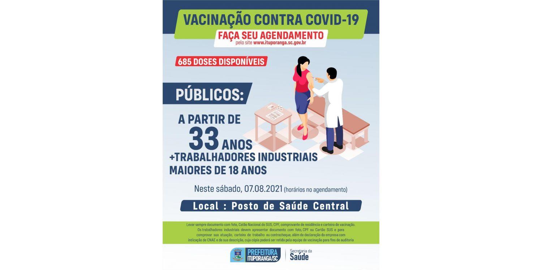 Ituporanga abre novos agendamento para pessoas a partir de 33 anos receber vacina contra a Covid-19