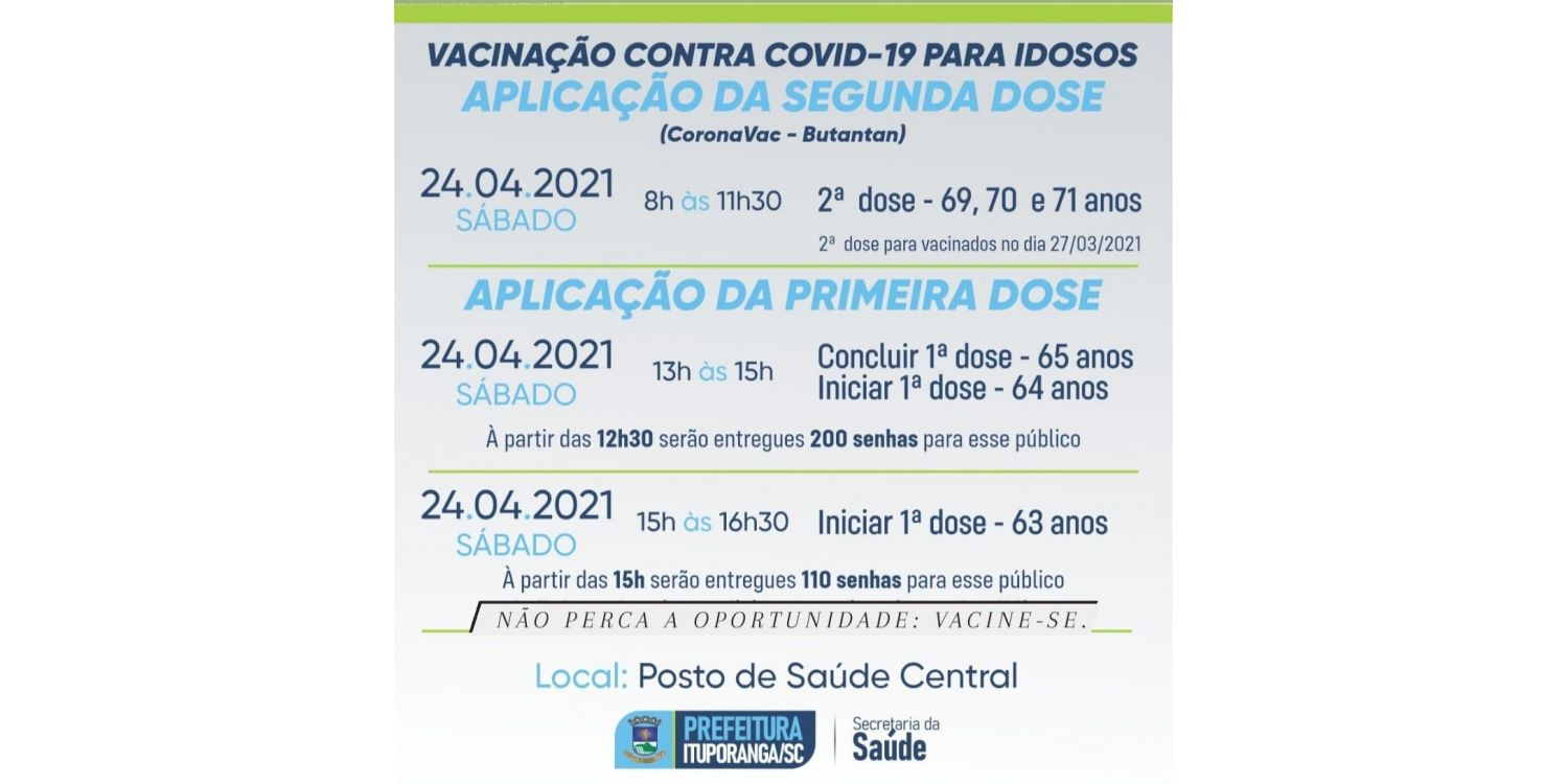 Ituporanga amplia público de vacinação contra a COVID. Idosos com 63 e 64 anos serão imunizados