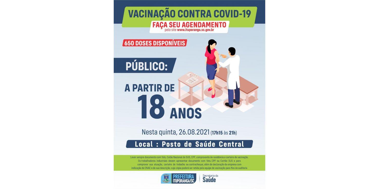 Ituporanga amplia público para vacina Covid e abre agenda para jovens a partir de 18 anos
