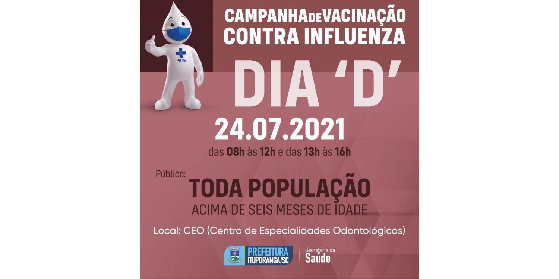 Ituporanga fará Dia D de Vacinação contra a Gripe para toda a população