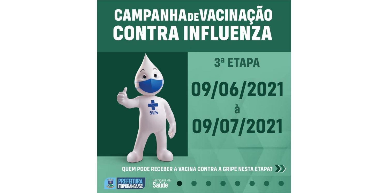 Ituporanga inicia na quarta (09), terceira fase da Campanha de Vacinação contra a Influenza