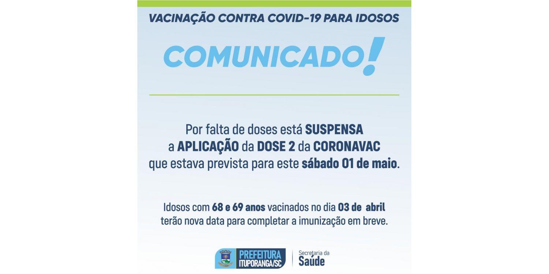 Ituporanga suspende aplicação de Dose 2 da vacina contra Covid-19 neste sábado
