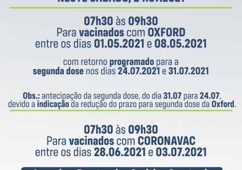 Neste sábado tem vacinação da segunda dose para dois públicos em Ituporanga