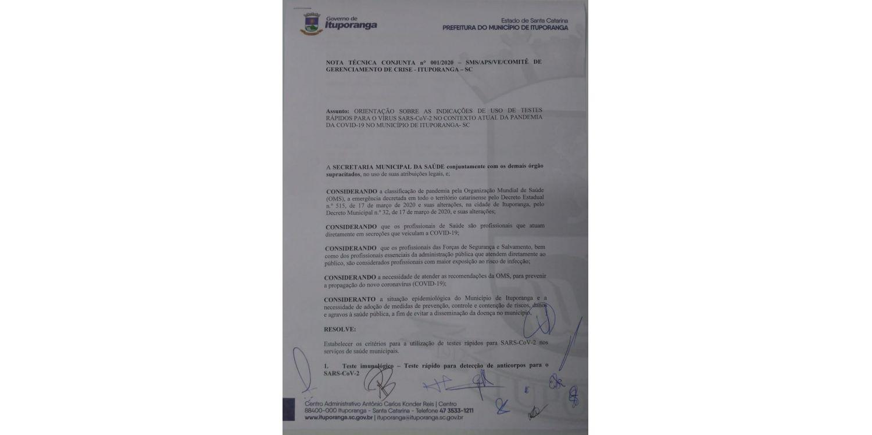 Nota Técnica emitida pelo Comitê dispõe sobre critérios para realização de testes rápidos