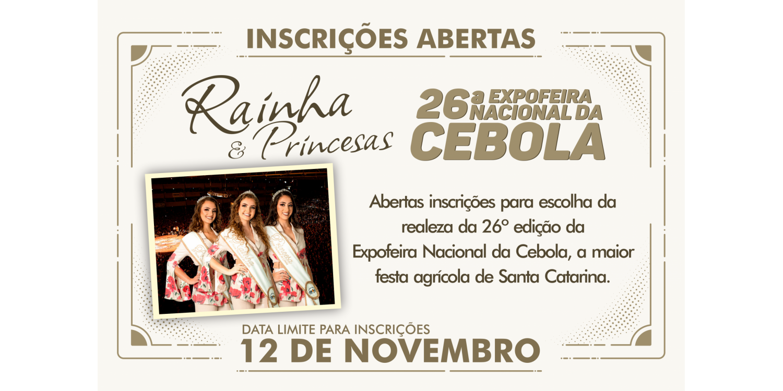 Abertas as inscrições para realeza da 26ª Expofeira Nacional da Cebola