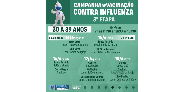 Novo público tem acesso a vacina contra a influenza em Ituporanga