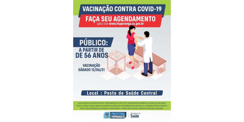 Pessoas a partir de 56 anos já podem fazer agendamento para receber a vacina contra  a COVID