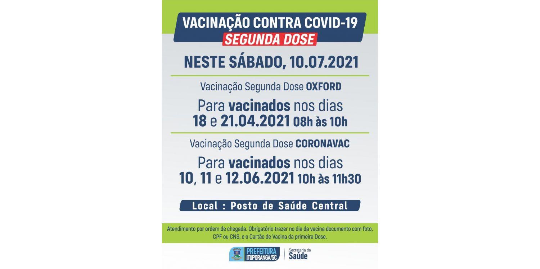 Sábado tem aplicação da segunda dose de vacina contra COVID em Ituporanga