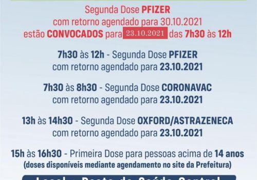 Secretaria de Saúde define cronograma de vacinação contra a Covid para o final de semana