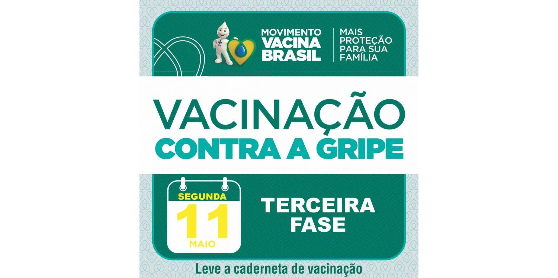 Terceira fase da vacinação contra influenza inicia na próxima segunda-feira