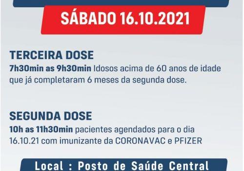 Vacinação  Covid: Sábado tem aplicação de segunda e terceira dose em Ituporanga